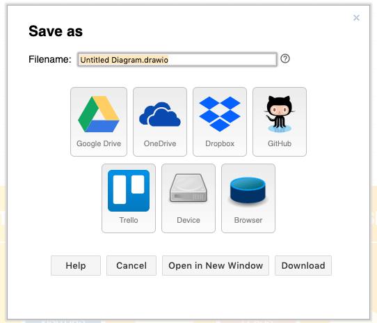draw.ioの保存先にクラウドドライブやローカルドライブなどをサポートしている
